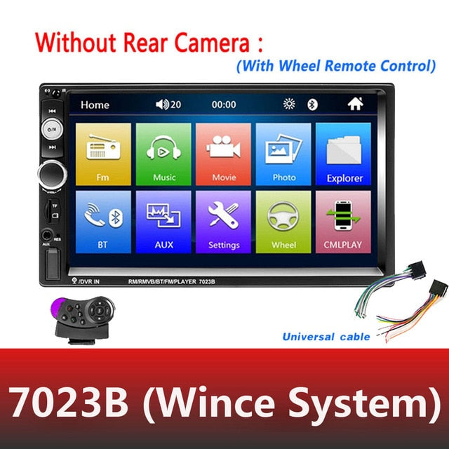 "AMPrime Universal 2 din Car Multimedia Player Autoradio 2din Stereo 7"" Touch Screen Video MP5 Player"