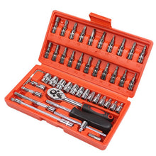 Load image into Gallery viewer, Car Repair Tool 46pcs 1/4-Inch Socket Set Ratchet Torque Wrench Combo Tools Kit