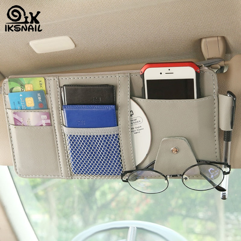 Car Sun Visor Bill Pen Business Card Holder CD  Holder Storage Box