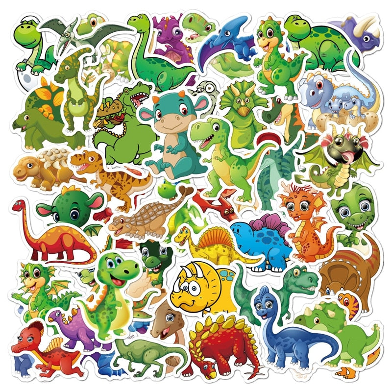 50pcs Stickers Car Laptop Luggage Waterproof Cute Cartoon Animal Luggage Sticker