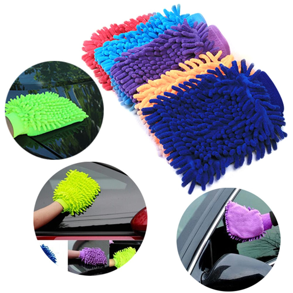 Double Sided Microfiber Washing Hand Gloves Car and Motorcycle Window Dust Cleaning Glove