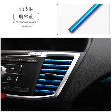 10pcs 20cm Car Styling Mouldings Air Outlet Chrome Trims Strip