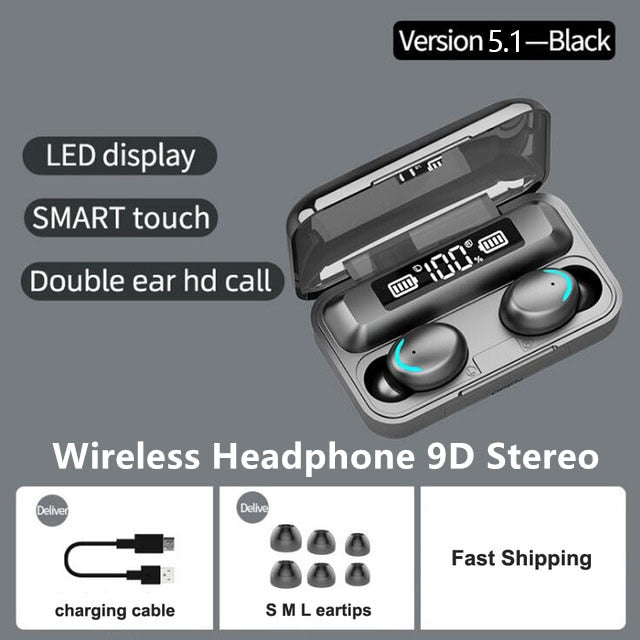 TWS Bluetooth 5.1 Earphones 2200mAh Charging Box Wireless Headphone