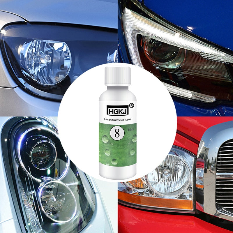 HGKJ Car Headlight Lamp Polishing Agent + Cleaning Rag Sandpaper Kit