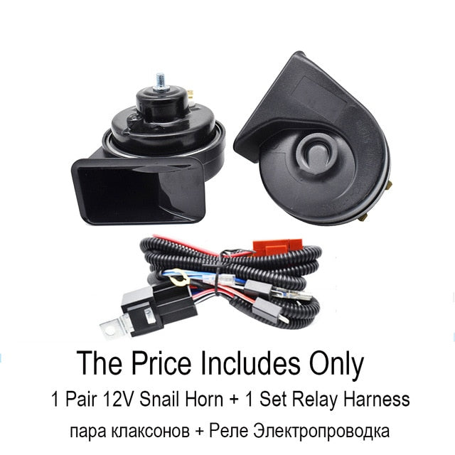 Universal Snail Horn With Relay Wiring Harness