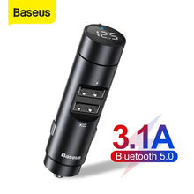 Load image into Gallery viewer, Baseus Car FM Transmitter Modulator Bluetooth 5.0 Car Kit With 3.1A Dual USB Charger