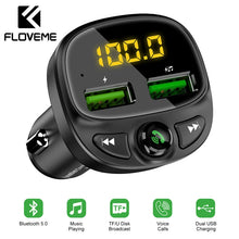 Load image into Gallery viewer, FLOVEME USB Car Charger For Phone Bluetooth Wireless FM Transmitter MP3 Player