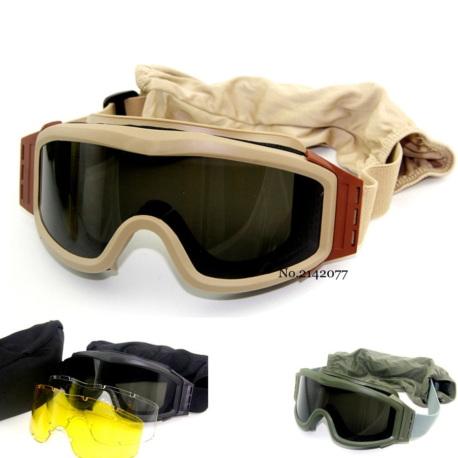 Military Airsoft Tactical Goggles Shooting Glasses Motorcycle Windproof