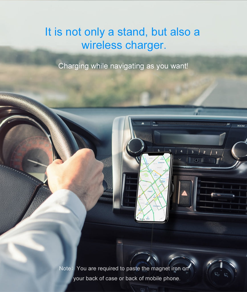 Baseus Car Qi Wireless Charger Holder For iPhone 11 X 8 8Plus Magnetic 360 Rotation
