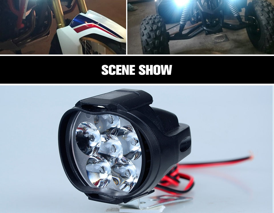 VooVoo 2Pcs 6 LED Motorcycle Universal Scooter Fog Spotlight