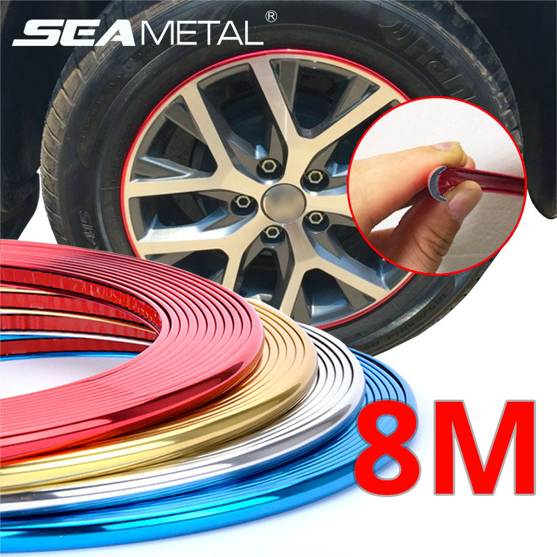 Car Wheel Protector Rim Sticker Moulding Strip Trims Chrome Decoration