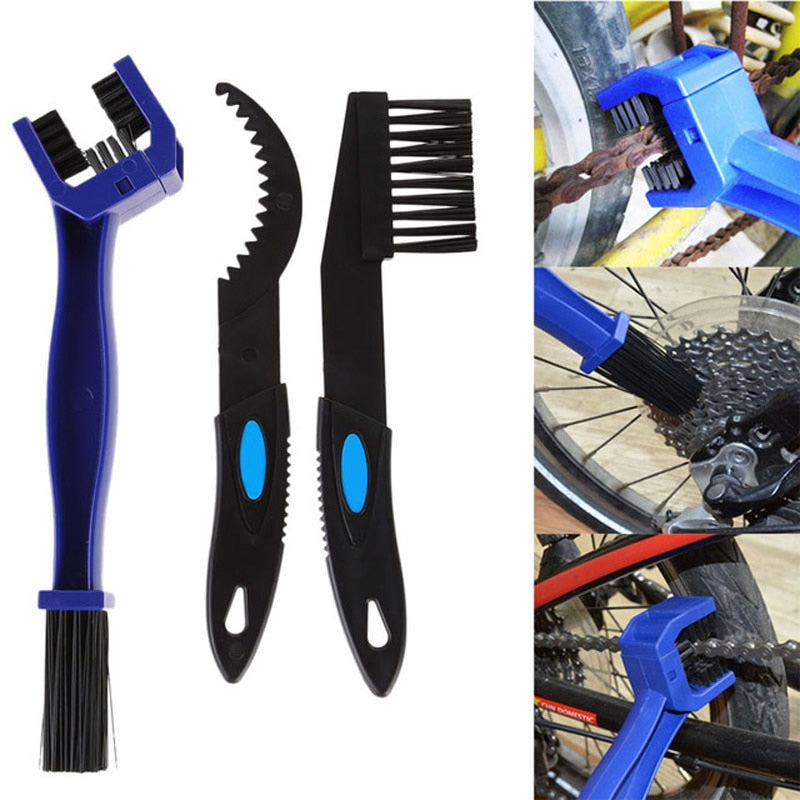 3pcs Bike Bicycle Chain Cleaning Brush set