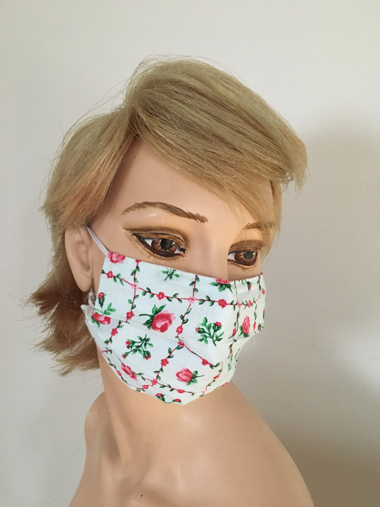 Romantic pink roses on organic cotton fabric - Face mask