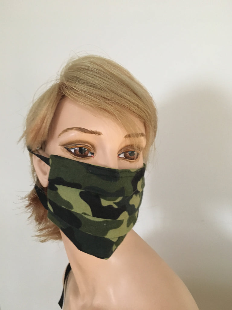 Camouflage Face mask - fits men and Women - black and back - with cotton strings