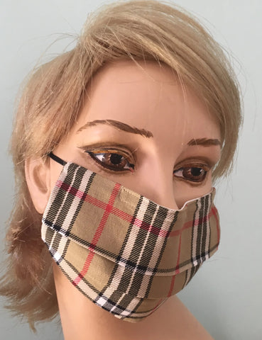 Beige plaid cotton face mask