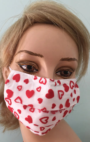 RED Hearts / Mesh covered face mask / organic cotton lined