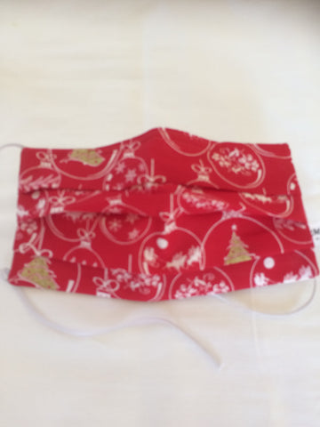 Christmas mask, Surgical face mask, cotton face mask for Women, red and white