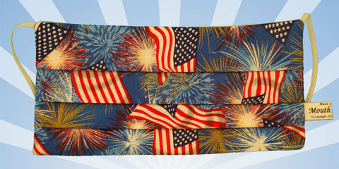 American Flag Fireworks Blue Mask