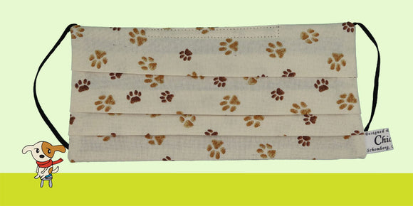 Pet Paw Prints Beige Mask