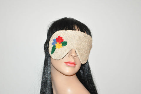 Beige Cotton Lace with Flowers Application Sleeping Eye Mask