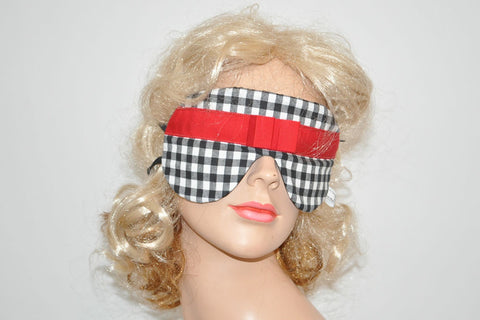 Black White Plaid Red Ribbon Sleeping Eye Mask