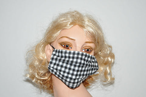Checkered Black White Plaid Mask