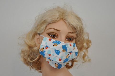 Cute Blue Hedgehog face Mask, adult and kids Hospital mask, organic cotton, surgical mask