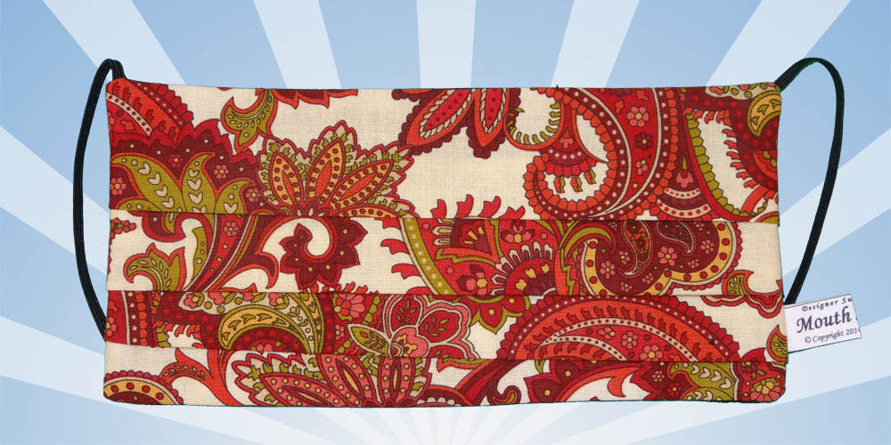 Burgundy Paisley Floral White Mask