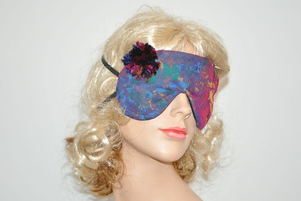 Burgundy Pom Pom Sleeping Eye Mask
