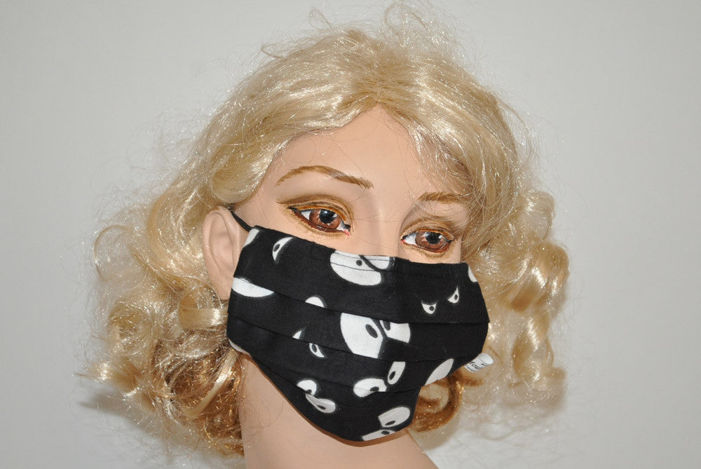 Comic Eyes Black Fleece Cotton Mask