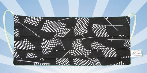 Racing Checkered Flags Black Mask
