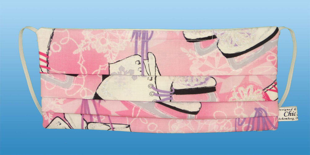 figure skates pink surgical mask