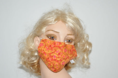 Floral Paisley Orange Mask