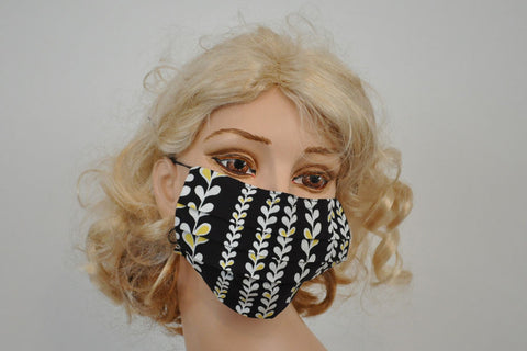 Floral Stripes Black Mask