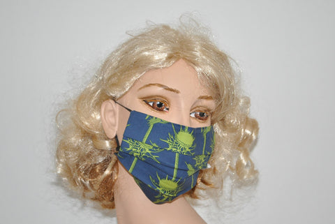 Green Dandelions Navy Blue Mask