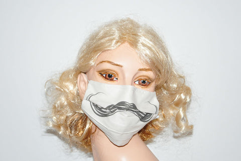 Handlebar Style Mustache for Movember Beige Mask