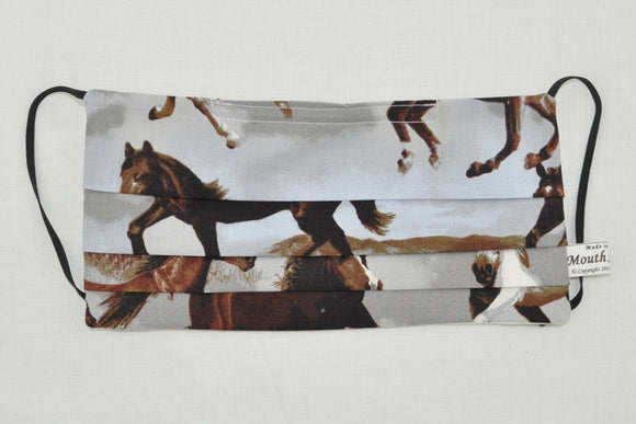 Horses cotton face mask, Horse Lover surgical face mask, grey brown mask with theme