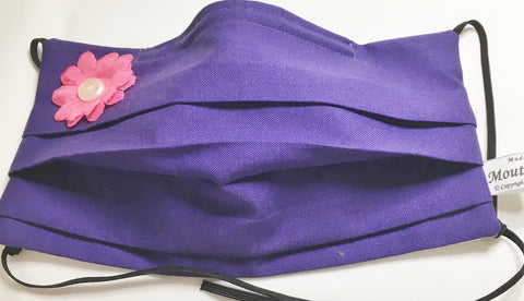 Purple cotton mask with flower application