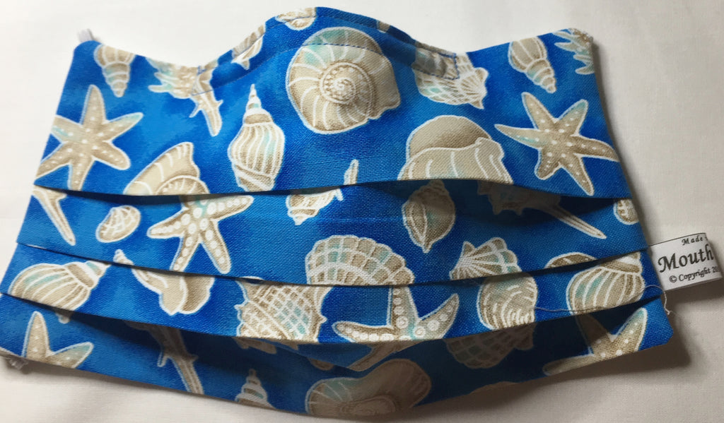 Seashell mask / soft organic cotton - blue