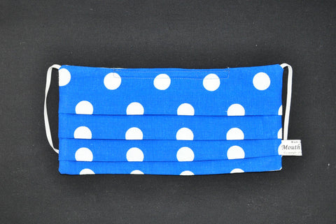 Large White Dots Blue Mask, organic cotton face mask, cute surgical face mask
