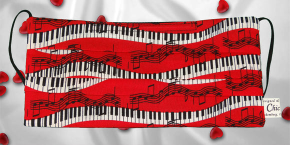 Piano Keys Music Notes Red Mask