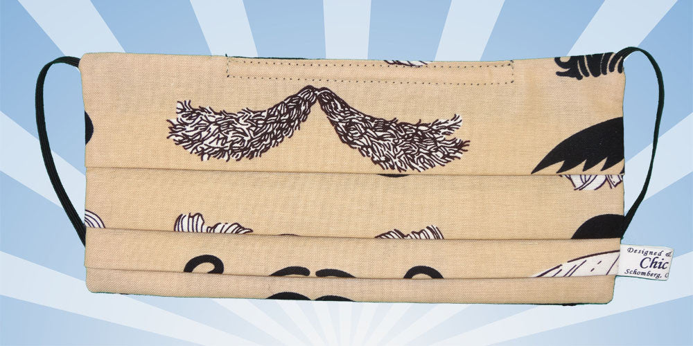 mustashes movember brown surgical mask