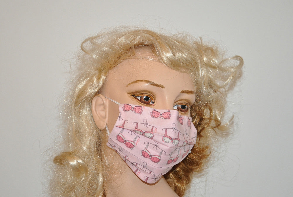 Pink bra surgical mask for Women, Breast cancer, pink, soft cotton, washable and reusable