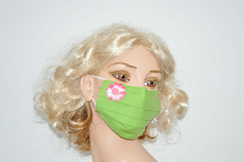 Pink Button Flower Application Green Mask