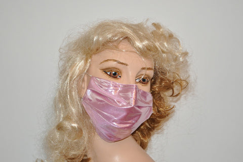 Pink metallic shiny Face mask