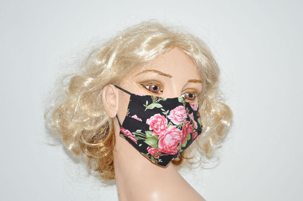 Pink Red Roses Black Mask
