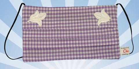 Plaid Purple White Mask White Flowers