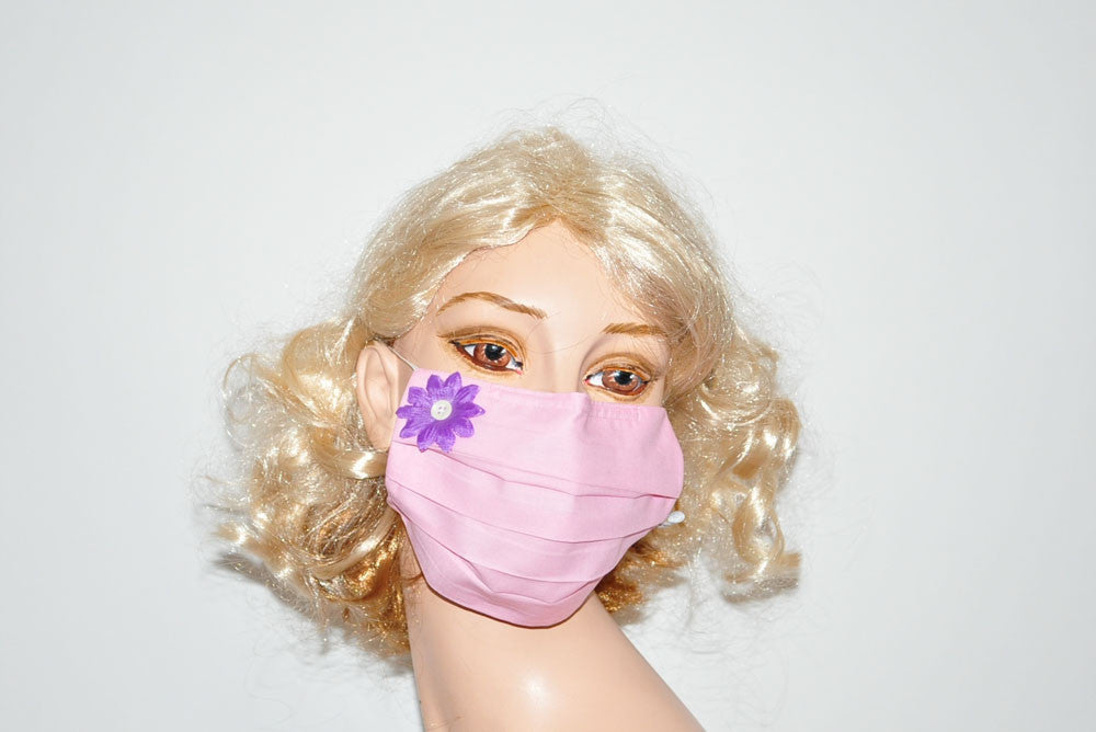Purple Flower Pink Mask