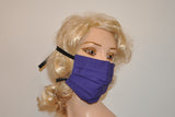 Purple face mask with cotton back ties for Men and Women, Surgical mask, Dust mask, Dirt mask, Woodworking
