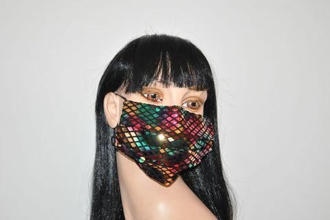 Metallic Sequined diamond colorful mask
